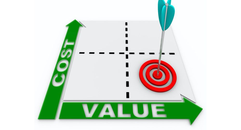 cost and value chart with bullseye on target at low price and high value